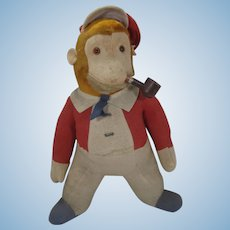 Mystery Dressed Midcentury Monkey Doll Smoking a Wooden Pipe