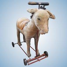 Steiff Prewar Mohair Riding Donkey On Wheels With ID