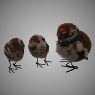 Steiff Woolen Miniature Sparrow Bird Family