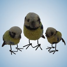 Steiff Family of Woolen Miniature Blue Tit Birds