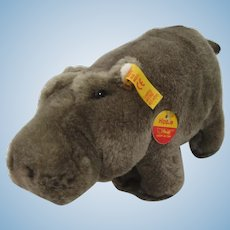 Steiff Soft Plush Hippie Hippo With All IDs