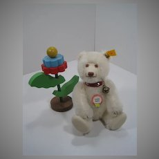 Steiff White Mohair Teddy Baby Bear Replica With All IDs