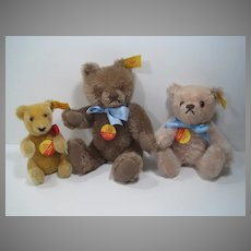 Steiff Set of Three Bears With IDs for Your Goldilock Doll