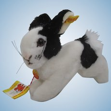 Steiff Black and White Soft Plush Spottilli Jumping Rabbit With All IDs