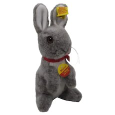 Steiff Soft Plush Grey and White Begging Manni Rabbit With All IDs