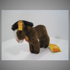 Steiff Brown Soft Plush Racy Horse With All IDs