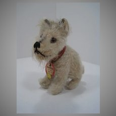 Steiff Tiny Prewar Tail Moves Head Rattler Terrier Dog With ID