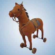 Steiff Prewar Felt Horse On Wheels With ID