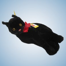 Steiff's Really Rare And Fantastically Adorable Large Lying Black Cat With IDs