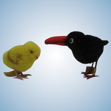 Pair of Steiff Woolen Miniature Birds with All IDs
