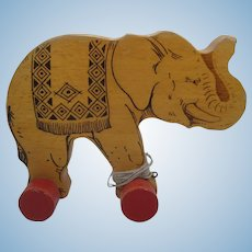 Steiff Wooden Pull Toy Elephant With ID
