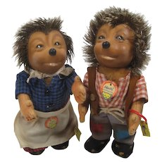 Steiff Medium Mecki And Micki Hedgehog Doll Couple With All IDs