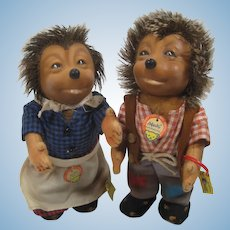 Steiff Medium Mecki And Micki Hedgehog Doll Couple With All IDs