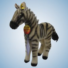 Steiff Medium Sized Mohair Zebra With IDs