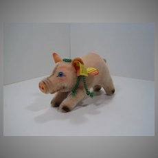 Steiff Smallest Jolanthe Pink Mohair Pig With All IDs