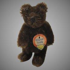 Steiff Smallest Chocolate Brown Postwar Teddy Bear With ID