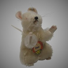 Steiff White Mohair Pieps Mouse With IDs