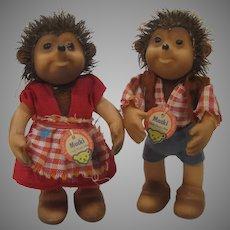 Steiff's Macki and Mucki Hedgehog Dolls With IDs