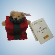Steiff All Wrapped Up Christmas Ornament Teddy Bear With ID