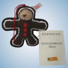 Steiff Gingerbread Man Teddy Bear Christmas Ornament With IDs