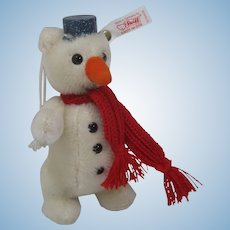 Steiff Mohair Snowman Christmas Ornament With IDs