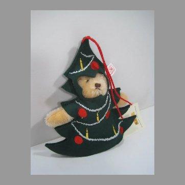 Steiff Blonde Christmas Tree Teddy Bear Ornament With IDs