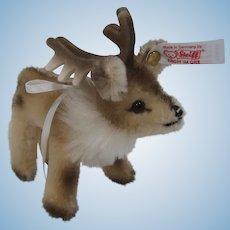 Steiff Mohair Reindeer Christmas Ornament With IDs