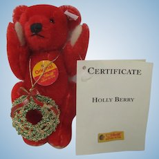 Steiff Red Mohair Christmas Teddy Bear With All IDs