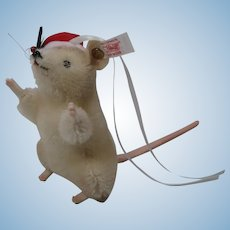 Steiff White Mohair Mouse Christmas Ornament With IDs