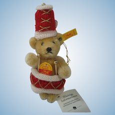Steiff Percussion Mohair Teddy Bear Christmas Ornament With IDs