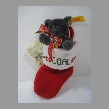 Steiff Coal Teddy Bear Christmas Ornament With IDs
