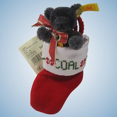 Steiff Coal Teddy Bear Christmas Ornament With IDs