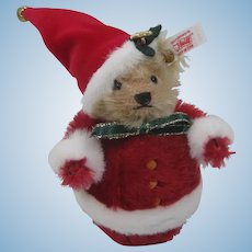Steiff Roly Poly Santa Teddy Bear With IDs