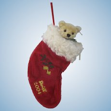 Steiff Blonde Mohair Teddy Bear in a Red Stocking With IDs