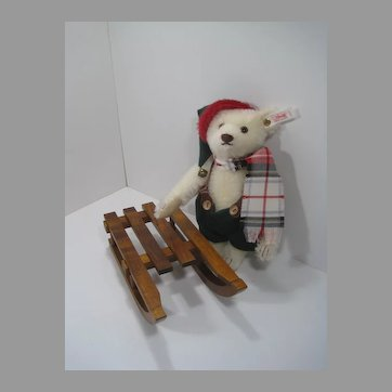 Steiff White Mohair Limited Edition Winter Bear With Sled And IDs