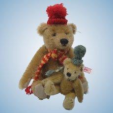 Steiff Teddy Bear Pair Set on a Sled With IDs