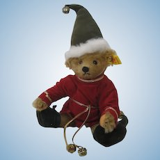 Steiff Fully Jointed Mohair Christmas Elf Bear With IDs