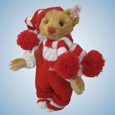 Steiff Reddish Blonde Mohair Little Santa Teddy Bear With IDs