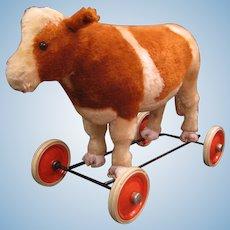 Steiff Early Postwar Riding Oxen on Wheels