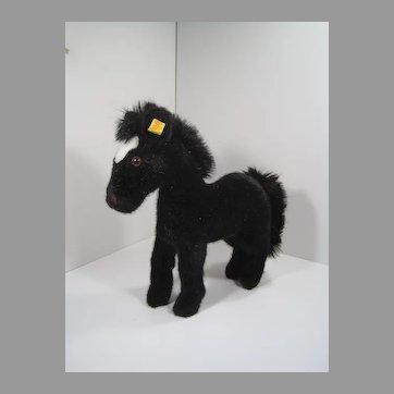 Steiff Black Soft Plush Racy Horse With IDs