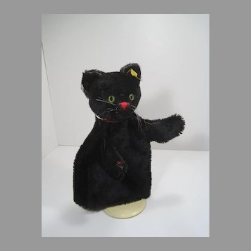Steiff Black Mohair Tom Cat Hand Puppet With IDs
