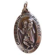 Vintage Sterling Silver Saint Christopher Medal
