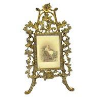 Art Nouveau Cast Iron Cabinet Card Standing Frame