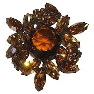 REGENCY Root Beer Rhinestone Japanned Brooch