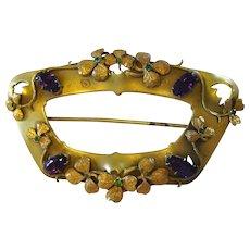 Art Nouveau Clover Sash Pin w/ Emerald & Amethyst Glass