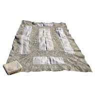 Figural Reticella Needle Lace Tablecloth with 12 Napkins