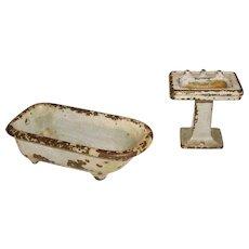 Kilgore Cast Iron Footed Bath Tub & Pedestal Sink Set Doll House Furniture