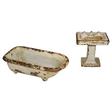 Kilgore Cast Iron Footed Bath Tub & Pedestal Sink Set Doll House Furniture