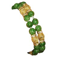 Unsigned Peking Glass Bead & Rhinestone Rondel Bracelet