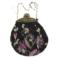 Hand Beaded Pouch Purse with Filigree Frame